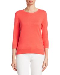 Saks Fifth Avenue - Pink Classic Crewneck Pullover - Lyst