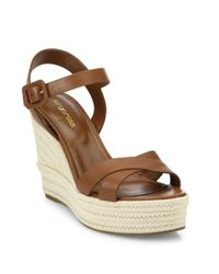 Sergio Rossi | Brown Maui Leather Wedge Sandals | Lyst