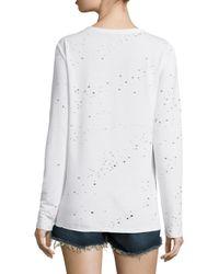 Twenty - White Distressed Keyhole Pullover - Lyst