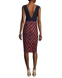 BCBGMAXAZRIA | Red Deep V-neck Sheath Dress | Lyst