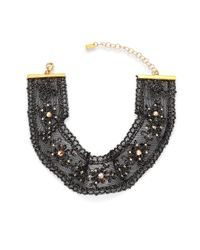 Chan Luu - Black Crystal & Metallic Lace Choker - Lyst