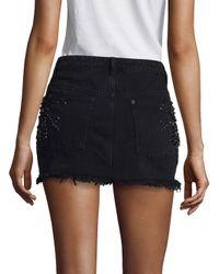 Free People - Black Shine Bright Shine Far Denim Mini Skirt - Lyst