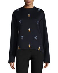 Marni | Black Embroidered Cotton Jersey Sweatshirt | Lyst