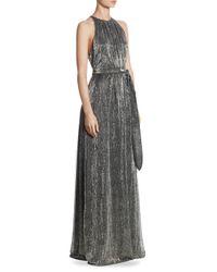Halston Heritage - Gray Texture Floor-length Gown - Lyst