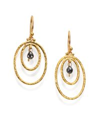 Gurhan | Metallic Hoopla Black Diamond & 24k Yellow Gold Drop Earrings | Lyst