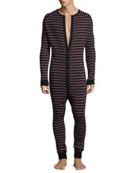 2xist - Black Stripe Cotton Union Suit for Men - Lyst