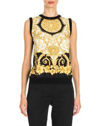 9efa6521378f4 Lyst - Versace Women s Hibiscus Print Silk Top - Black Gold in Black