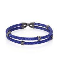 Stinghd - Blue Blackened Silver & Stingray Wrap Bracelet for Men - Lyst