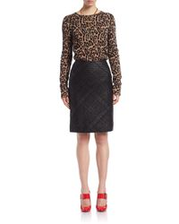 Lanvin | Black Whipstitch Leather Pencil Skirt | Lyst