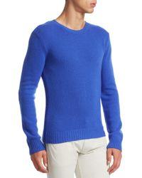 Ralph Lauren Purple Label - Blue Cashmere Crewneck Sweater for Men - Lyst