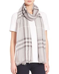 Burberry - Gray Giant Check Wool & Silk Gauze Scarf - Lyst