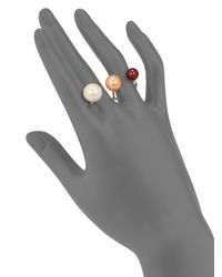 Delfina Delettrez - White Never Too Light 9mm-11.5mm Tricolor Round Pearl Double Ring - Lyst