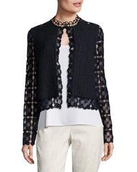 Elie Tahari - Blue Annabella Tweed & Lace Jacket - Lyst
