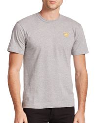Play Comme des Garçons - Gray Small Emblem Tee for Men - Lyst