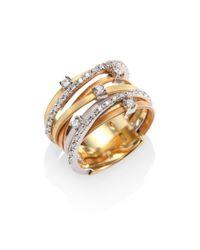 Marco Bicego - Metallic Goa Diamond, 18k White, Rose & Yellow Gold Seven-strand Ring - Lyst