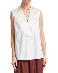 Brunello Cucinelli - White Silk-blend Blouse - Lyst