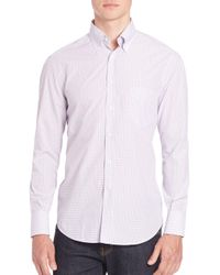 Brunello Cucinelli - Pink Checked Long Sleeve Shirt for Men - Lyst