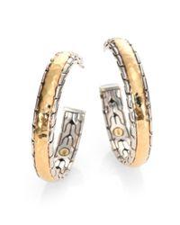 John Hardy - Metallic Palu 18k Yellow Gold & Sterling Silver Medium Hoop Earrings/2.5 - Lyst
