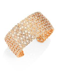 Adriana Orsini - Metallic Anise Rose Gold-plated Wide Cuff Bracelet - Lyst