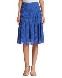 Akris Punto - Blue Pleated Polka Dot Skirt - Lyst