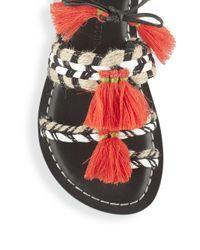 Bernardo - Black Tasseled Lace-up Sandals - Lyst