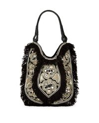 Antik Batik | Black Cabas Fringed Cotton Bag | Lyst
