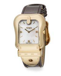 Fendi - Metallic B. Goldtone Ip & Leather Buckle Watch - Lyst