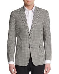 Tommy Hilfiger - Black Regular-fit Gingham-print Cotton Sportcoat for Men - Lyst