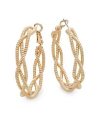 "Saks Fifth Avenue - Metallic Twisted Triple-strand Goldtone Hoop Earrings/1.5"" - Lyst"