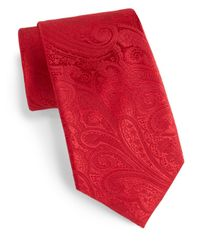Saks Fifth Avenue - Red Boxed Paisley Silk Tie for Men - Lyst