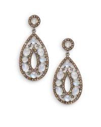 Bavna - Metallic Rainbow Moonstone, Champagne & Grey Diamond Teardrop Earrings - Lyst