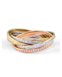 Effy | Metallic Tri-color 14 Kt. Gold Diamond Bands, Set Of 6 | Lyst