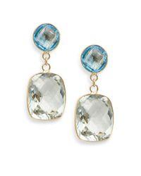 Effy - Green Amethyst, Blue Topaz & 14k Yellow Gold Drop Earrings - Lyst