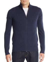 Saks Fifth Avenue - Blue Cashmere Zip Sweater for Men - Lyst