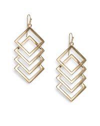 Nine West - Metallic Cascading Geometric Goldtone Metal Drop Earrings - Lyst