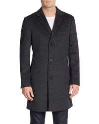 Saks Fifth Avenue | Gray Trim-fit Notched Lapel Wool & Cashmere Coat for Men | Lyst
