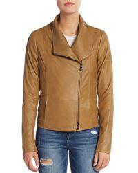 VINCE | Brown Leather Scuba Jacket | Lyst