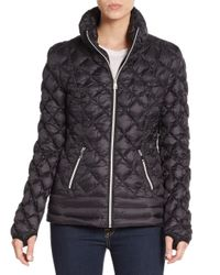 Saks Fifth Avenue - Black Diamond Quilted Down Coat - Lyst