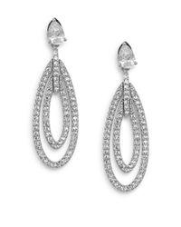 Adriana Orsini - Metallic Novelette White Stone Oval Drop Earrings - Lyst