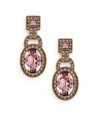 Heidi Daus | Metallic Be Linked Swarovski Crystal Drop Earrings/goldtone | Lyst