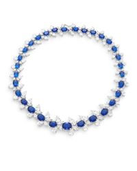 CZ by Kenneth Jay Lane | White & Blue Stone Cluster Collar Necklace/silvertone | Lyst
