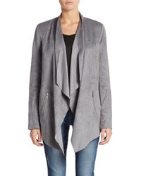 Saks Fifth Avenue Black | Gray Faux Suede Jacket | Lyst