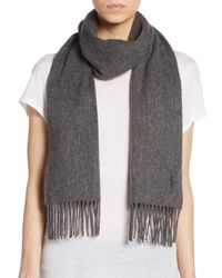 Saint Laurent | Gray Wool & Cashmere Scarf | Lyst