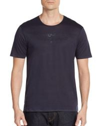 Emporio Armani | Blue Logo Cotton Tee for Men | Lyst