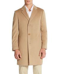 Saks Fifth Avenue | Brown Slim-fit Wool Coat for Men | Lyst