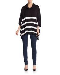 Calvin Klein   Black Striped Knit Poncho   Lyst