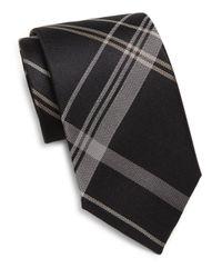 Saks Fifth Avenue | Black Silk Plaid Tie for Men | Lyst
