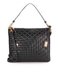 Badgley Mischka | Black Clarissa Quilted Leather Convertible Clutch | Lyst
