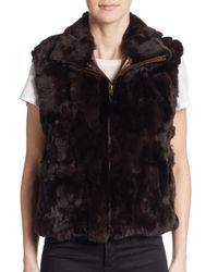 Saks Fifth Avenue | Brown Rex Rabbit Fur Vest | Lyst
