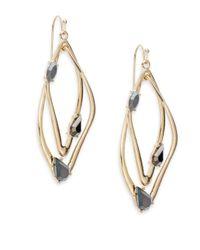 Saks Fifth Avenue | Metallic Iridescent Stone Interlocking Drop Earrings/goldtone | Lyst